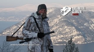 Kristoffer Clausen hunting and shooting red stag in winter
