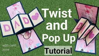 How to make twist and pop up card | Handmade birthday card tutorial |