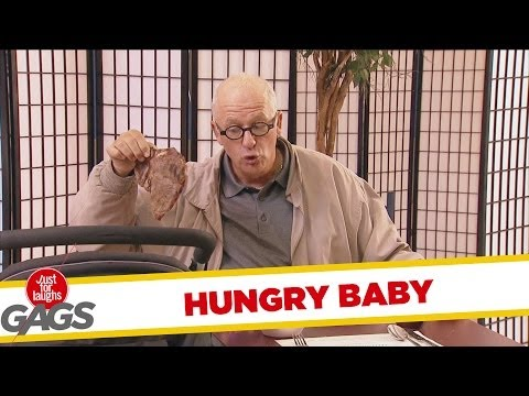 Hungry Baby Devours Juicy Steak