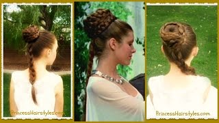 Princess Leia Hairstyle, Spiral Braid Ceremony Updo, Star Wars, Halloween