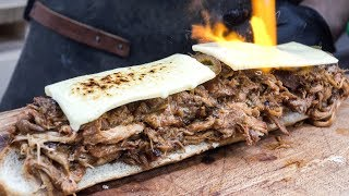 Amazing Sandwiches with Pulled Pork and Melted Cheese. London Street Food