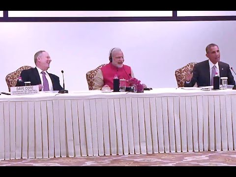 President Obama and Prime Minister Modi Participate in a CEO Roundtable in India