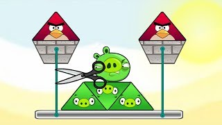 Angry Birds Piggies Out - BAD PIGS CUTTING ROPE TO THROW TWO TRIANGLE BIRDS!