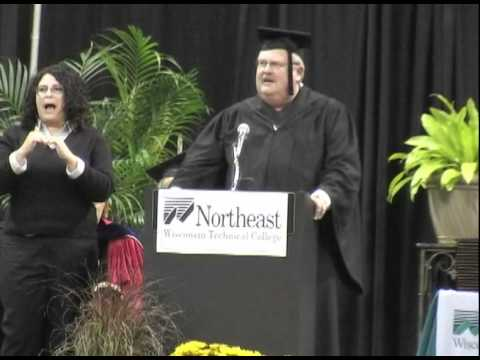Alumni President of Northeast Wisconsin Technical College, Kelly Hafeman speaks at NWTC commencement