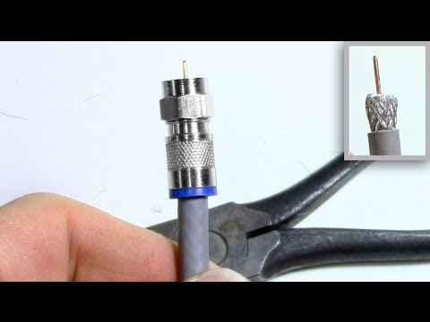 Coax TV Cable stripping connector install - No Special Tools