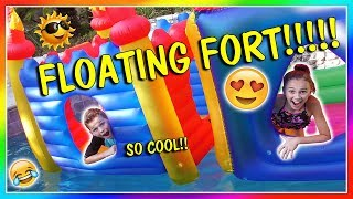 PLAYING IN OUR BACKYARD FLOATY FORT! | We Are The Davises