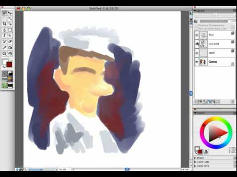 Drawing rough cartoon doodles with a Wacom Intuos in Corel Painter