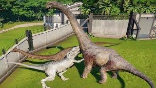 INDOMINUS REX MAX Vs APATOSAURUS,BRACHIOSAURUS,CAMARASAURUS,DIPLODOCUS - Jurassic World Evolution