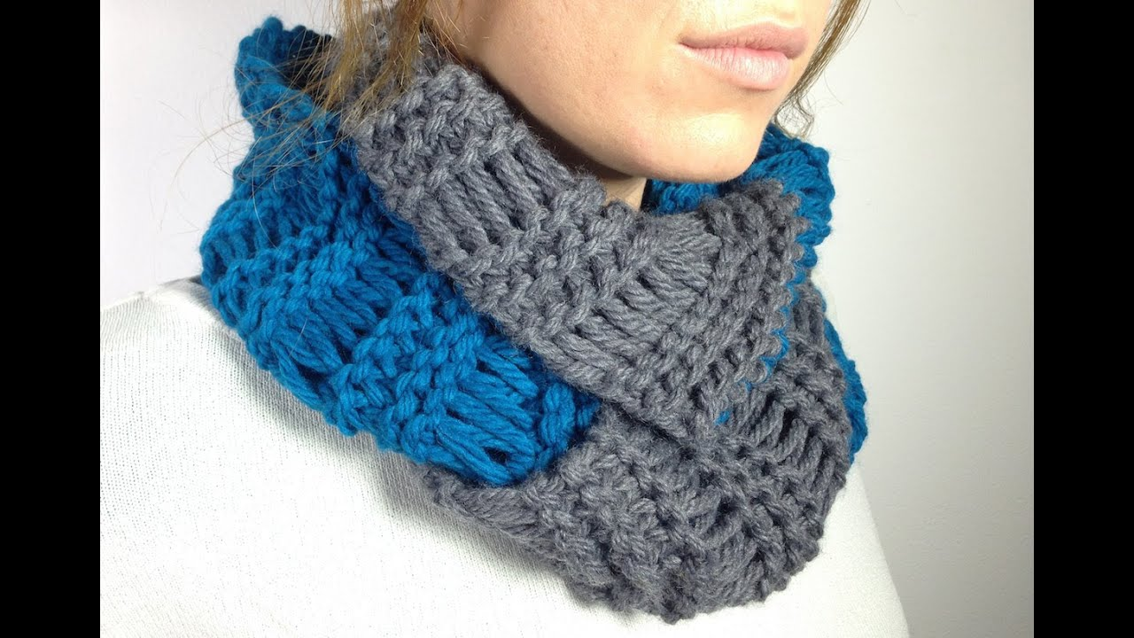 Round Loom Knitting Scarf Patterns : How to Loom Knit an Infinity Scarf in Elongated Stitch using a Round Loom (DI...