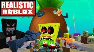 Realistic Roblox - EVIL SPONGEBOB ZOMBIE ATTACK IN ROBLOX! Roblox Terror in Bikini Bottom!