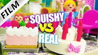 Playmobil Film Deutsch SQUISHY vs REAL FOOD 2 CHALLENGE + BESTRAFUNG VON JULIAN! Familie Vogel