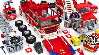 Red Hulk is set on fire! Robocar Poli! Make a Playmobil Fire truck with assembly kit! #DuDuPopTOY