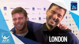 PRANK! Harrison Tricks Dimitrov In Press At Nitto ATP Finals 2017