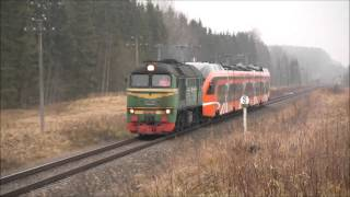 М62-1035+первый Эстонский Штадлер между Лугажи-Сауле/M62-1035+first Estonian Stadler at Saule-Lugaži