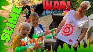 HUGE Family Nerf Slime War!