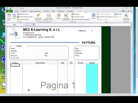 Fattura con Excel 2010