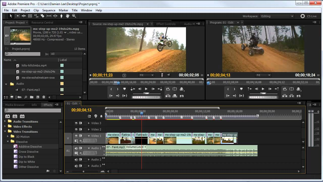 premiere video editing software