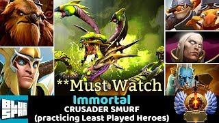 BLUE SPAN IMMORTAL ON CRUSADER (practicing Least Played Heroes) DOTA 2