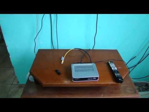azamerica s922mini com uma antena configurando wifi  e caborj45 e hispasat