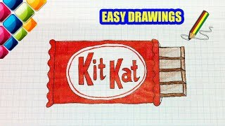 Easy drawings #285 How to draw a chocolate KIT KAT / drawings for beginners