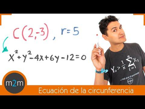 Ecuación general de la circunferencia dado su centro y radio