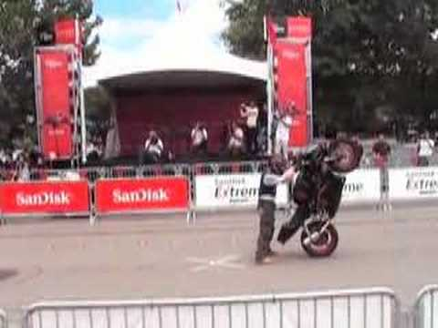 Motorcycle stunts outside Sandisk HQ at Ducati event