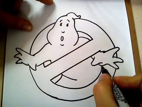 how to draw ghostbusters logo step by step