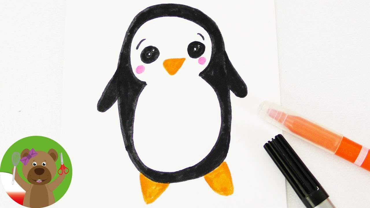Malowanie & Rysowanie | Pingwinek Kawaii | zimowy pomysł na kartki urodzinowe i zaproszenia
