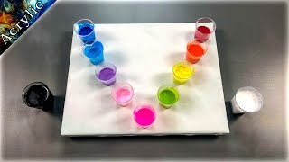 5 Mini Flip Cups on One Canvas - Amazing Abstract Painting on Negative Background