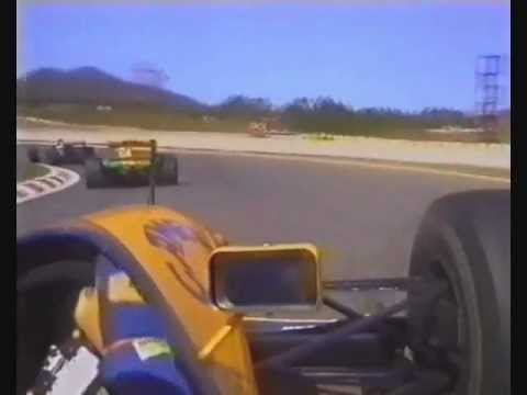 Alain Prost fights for the lead with Michael Schumacher at Estoril. First or second he wins the championship but he wants to take it with a win.