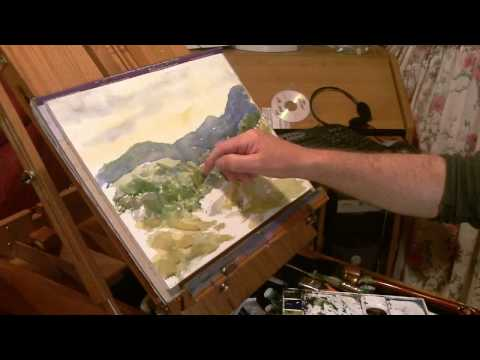 Watercolor Landscape Tutorial Lesson, rough brush method.