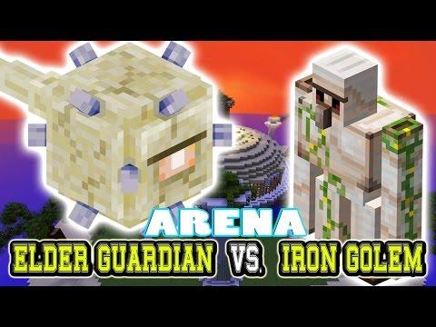 Minecraft Arena Battle ELDER GUARDIAN vs IRON GOLEM - MOB BATTLE
