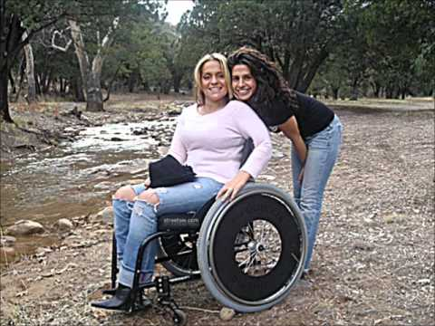 Pretty women on wheelchairs