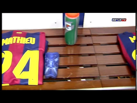 El vestuario azulgrana en el Bernabéu, a punto