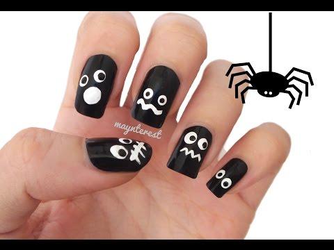 Diseño de uñas Ojos en la oscuridad Halloween   Eyes in the dark nail art Halloween