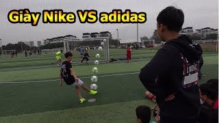 Thử Thách Bóng Đá thi sút Penalty giày của Ronaldo VS giày Dybala với thủ môn Bùi Tiến Dũng Nhí