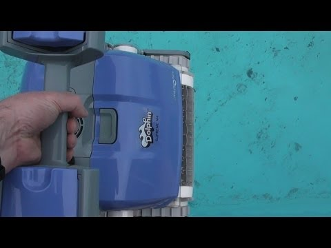 Dolphin Supreme M4 Review - a brand new pool cleaner tackles a dirty pool full of leaves.