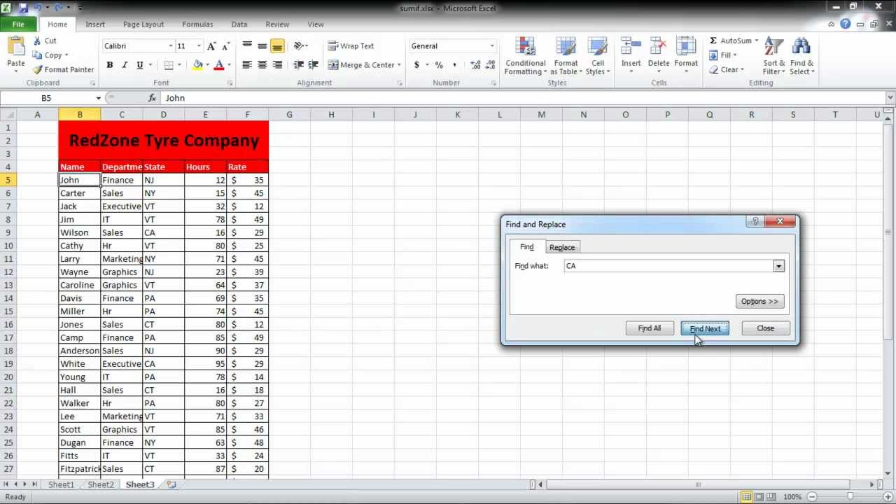 how to search data in excel