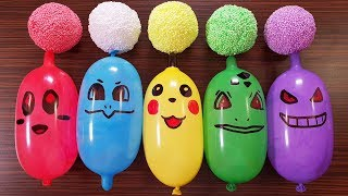 Making Slime With Funny Balloons and Floam Balls - Pikachu