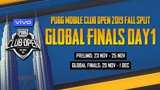 [Hindi] PMCO Global Finals Day 1 | Vivo | Fall Split | PUBG MOBILE CLUB OPEN 2019