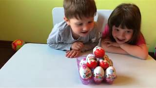 9 Surprise Eggs with Oawii and sister Bea - minions, dinos, cars, balerina, spinner and other toys