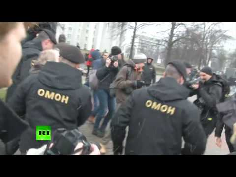 Антиправительственный митинг в Минске: ОМОН задерживает участников акции