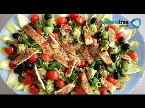 Receta de ensalada de quinoa con espárragos y vinagreta. Receta de ensalada / Salad recipe