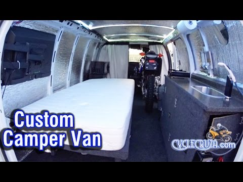 Homemade Camper Van that Carries a Motorcycle Inside! Tiny Home on Wheels