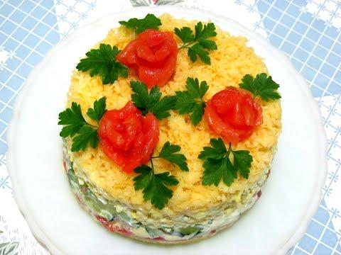 Салаты слоеные с рыбой рецепты с простые и вкусные