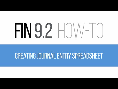 FIN 9.2 How-To: Creating and Importing Journal Entry Spreadsheet
