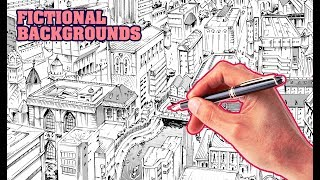 How to Draw Backgrounds FROM SCRATCH | Fictional Cityscape