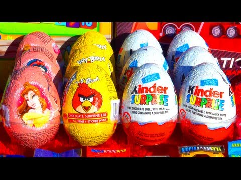 12 Toy Surprises Kinder Surprise Cinderella Disney Princess Surprise Eggs Easter Angry Birds Toys!