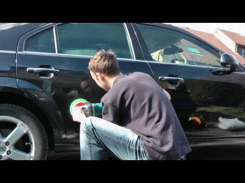 Car Machine Polishing With 3M On A Black Car