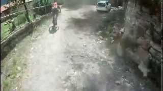 testing downhill bike trails .downhill in mestia